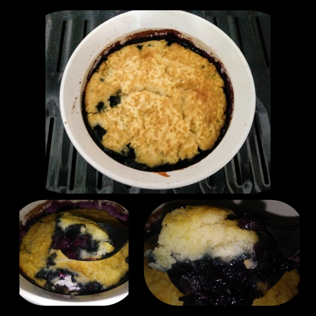 Crystallized-Topped Faux Buttermilk Biscuit served on a bed of Warm Wild Blueberry Compote